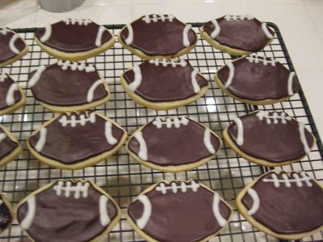 chocolate icing on football cookies