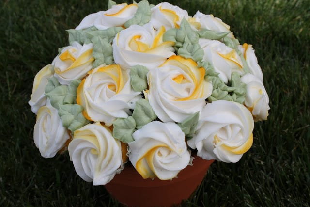 CUPCAKES yellow and white rose frosting
