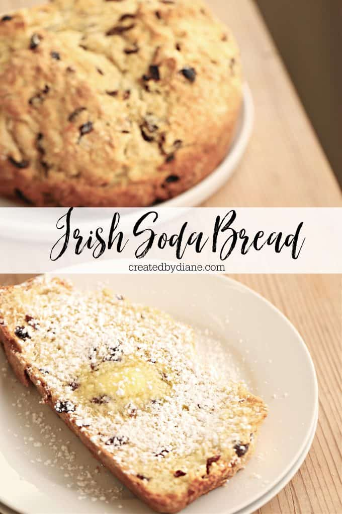 baked Irish Soda quick bread, sliced with butter melted and powdered sugar