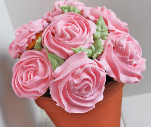 pink potted rose cupcakes bouquet
