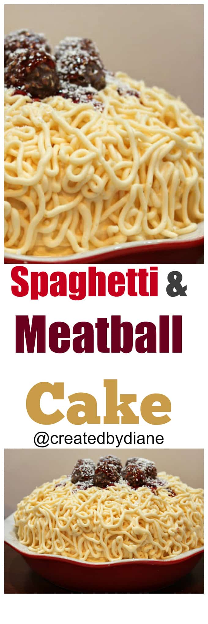 spaghetti and meatball cake @createdbydiane