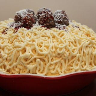 spaghetti and meatball cake from @createdbydiane