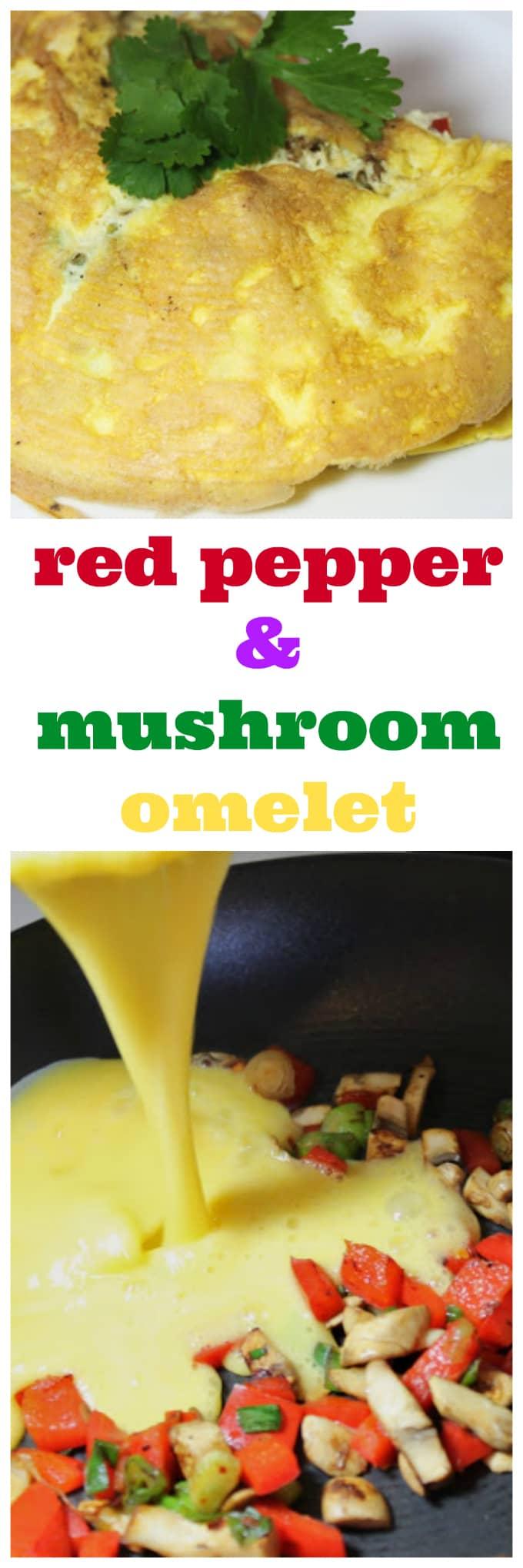 red pepper and mushroom omelet