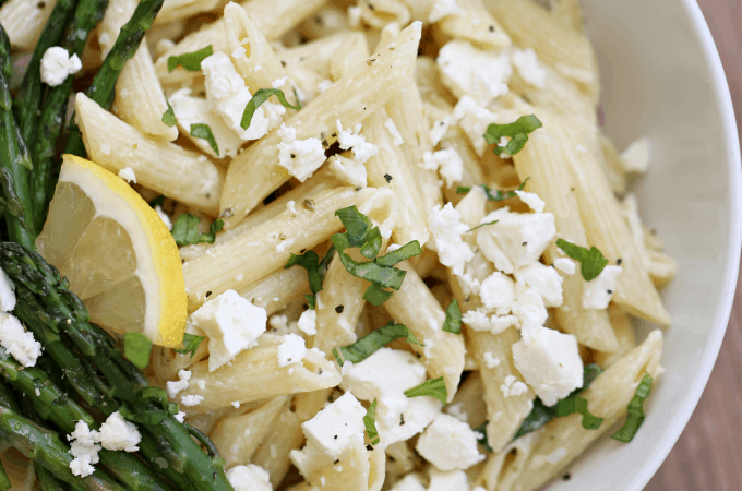 lemon pasta salad with feta cheese createdbydiane.com