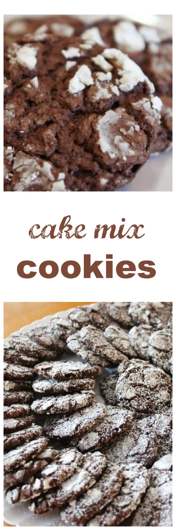 Chocolate Cake Mix Cookies Rolled In Powdered Sugar
