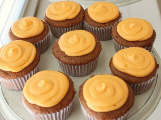 cream cheese frosting on carrot cake cupcakes