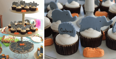 baby shower fondant topped cupcakes