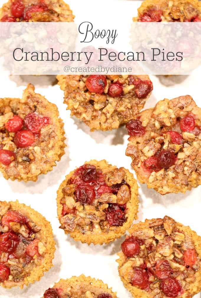 Boozy Cranberry Pecan Pies @createdbydiane