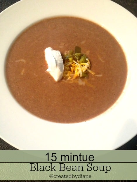 15 minute Black Bean Soup @createdbydiane