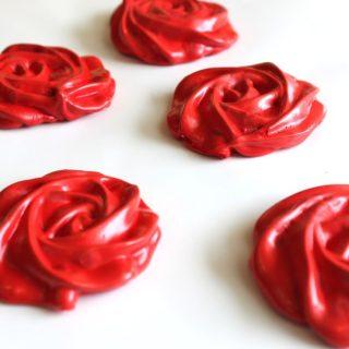 red strawberry meringue cookies