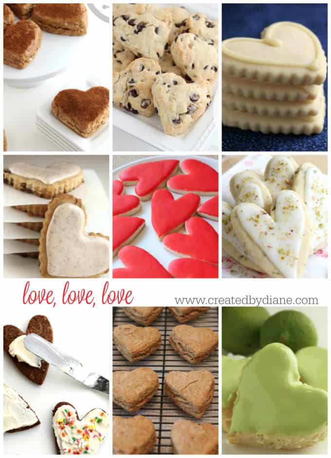 love, love, love heart-shaped desserts cookies, scones, icing, www.createdbydiane.com
