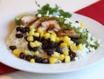 Chicken with Cilantro Lime Sacue over rice with beans and corn
