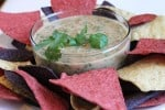 Bean dip with cilantro, lime, and diced green chiles