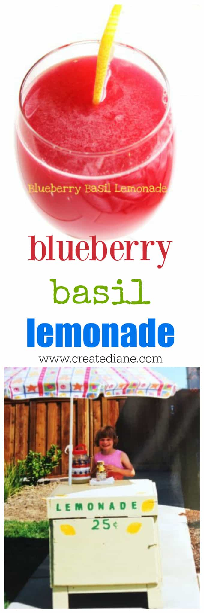 blueberry basil lemonade recipe and the cutest lemonade stand www.createdbydiane.com