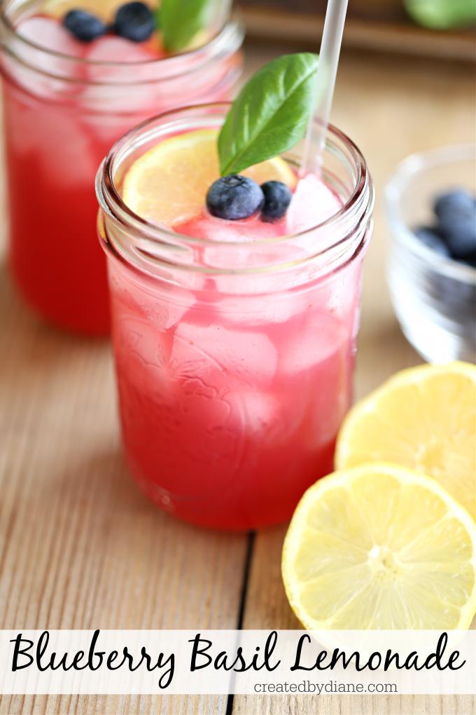 blueberry basil lemonade recipe natural pink lemonade createdbydiane.com