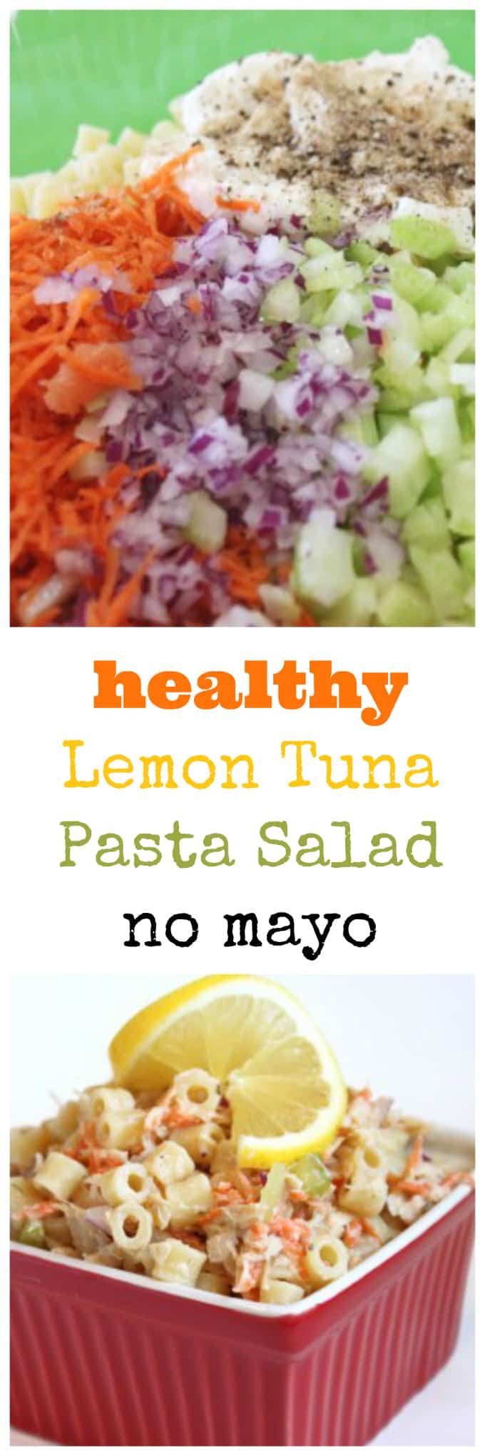 healthy lemon tuna pasta salad with no mayo @createdbydiane