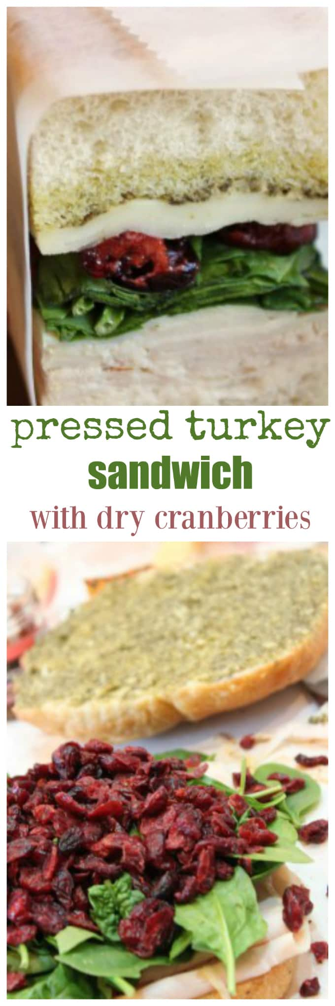 pressed turkey sandwich with dry cranberries, turkey, spinach perfect beach food @createdbydiane