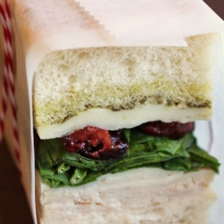 Pressed Turkey, Cranberry and Pesto Sandwich