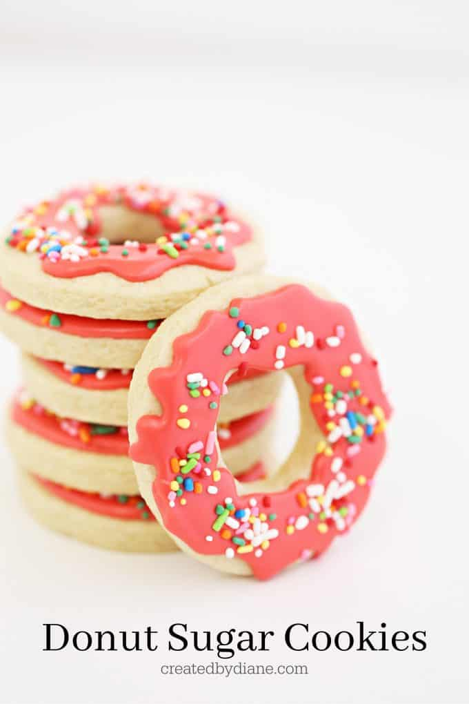 Donut Sugar Cookies, coral cing and rainbow sprinkles createdbydiane.com