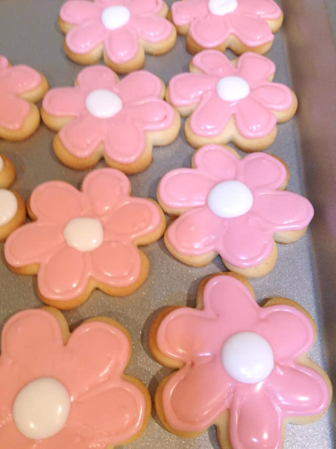 pink flower cut out sugar cookies www.createdbydiane.com