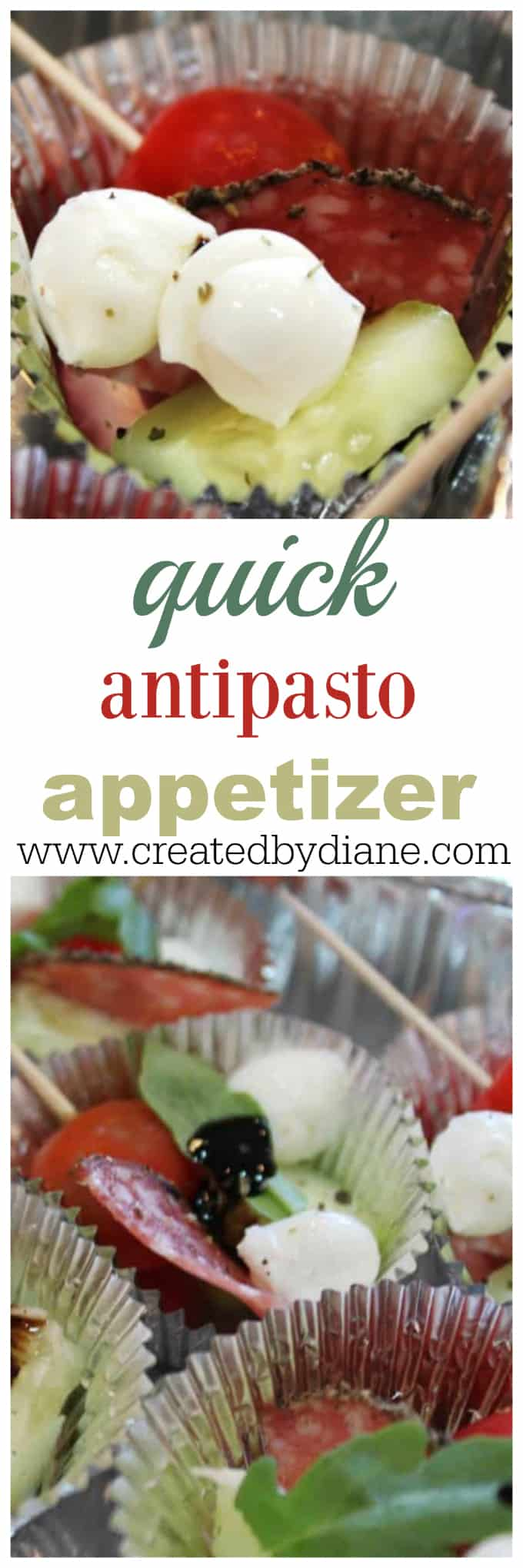 quick antipasto appetizer www.createdbydiane.com party food,