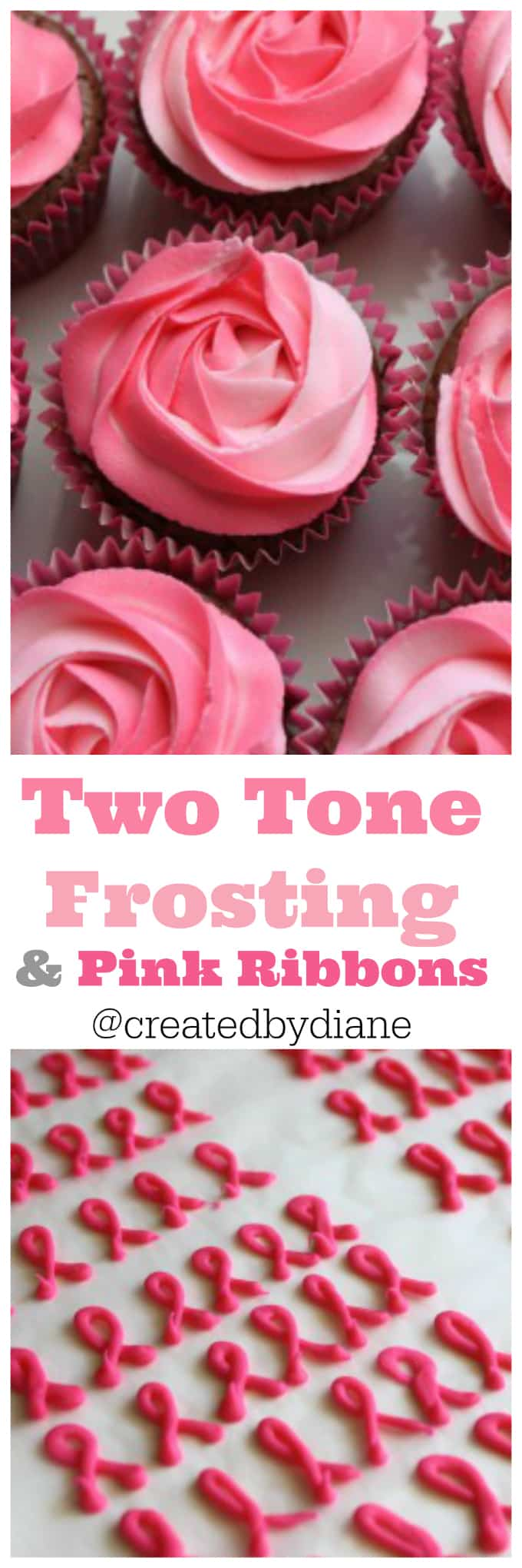 pink two-tone-frosting-and-pink-ribbons-october-breast-cancer-awareness-createdbydiane
