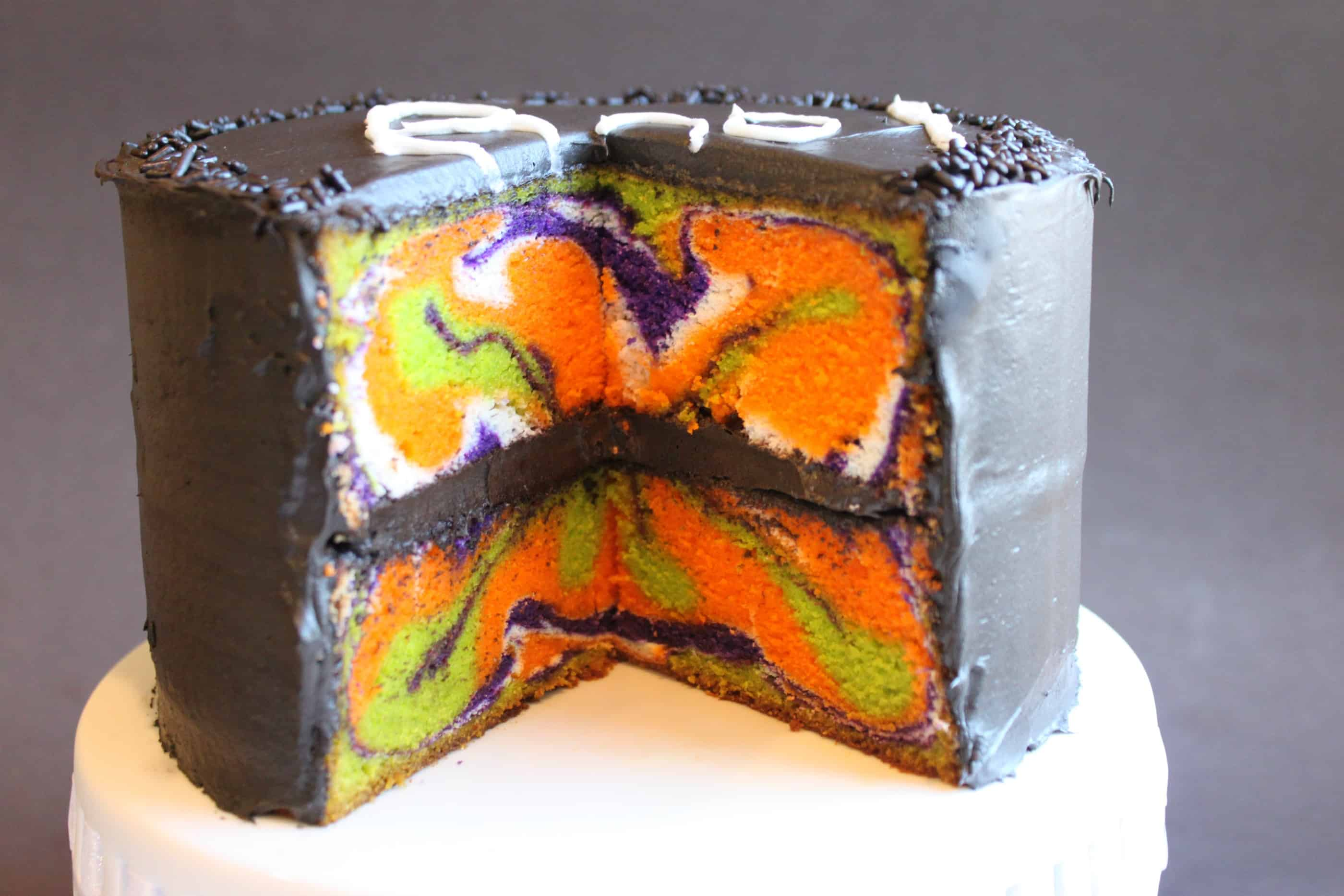Halloween cake with multi color inside created by diane for Easy halloween cakes to make at home