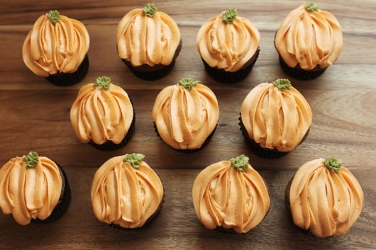 Pumpkin Chocolate Cupcakes with Pumpkin Cream Cheese Frosting