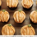Pumpkin Chocolate Cupcakes with Pumpkin Cream Cheese Frosting @createdbydiane