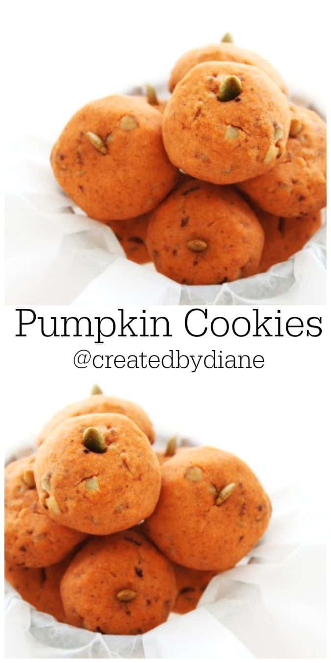 Pumpkin Cookies with Pecans @createdbydiane