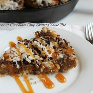 Caramel Coconut Chocolate Chip Skillet Cookie Pie