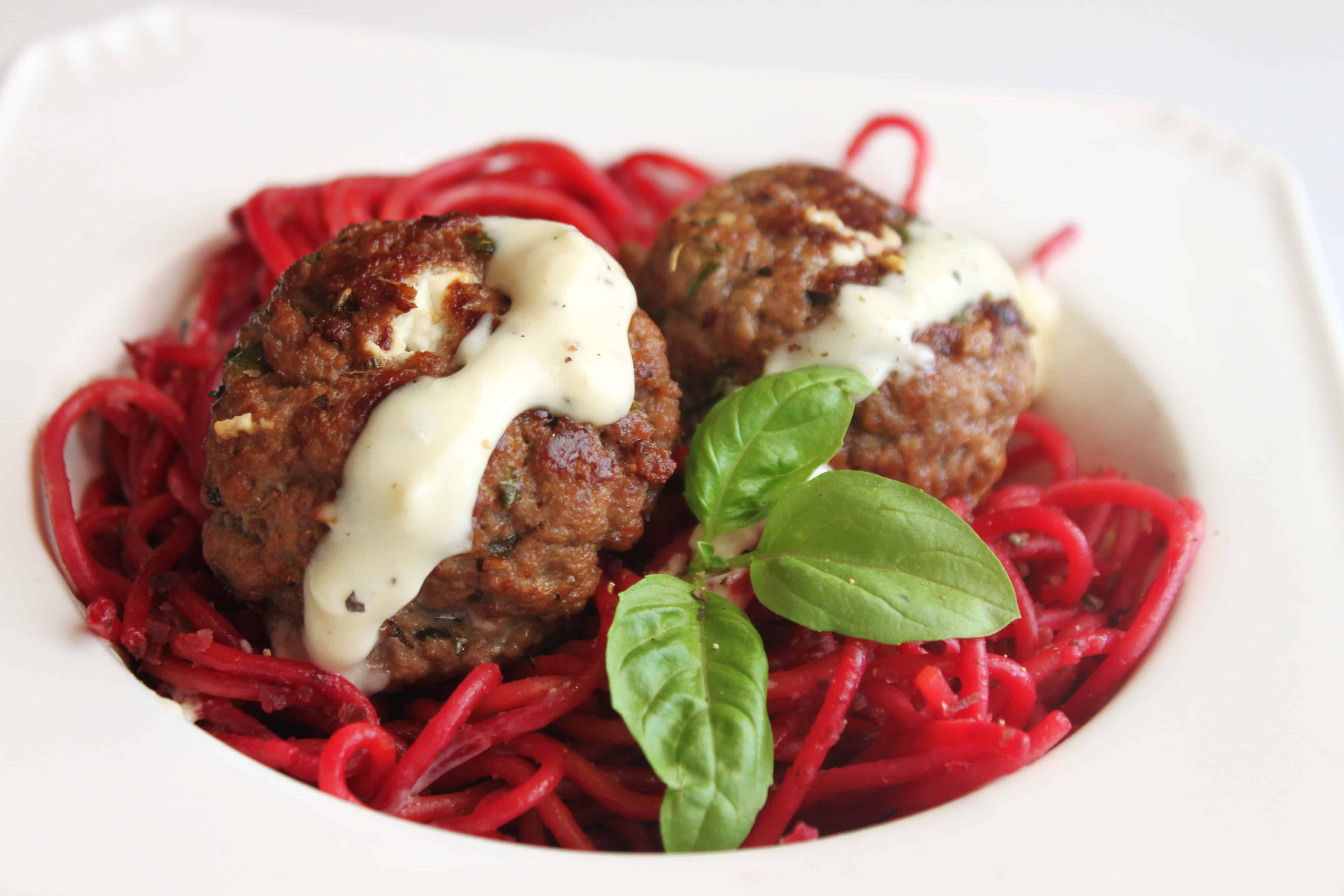 Goat Cheese Meatballs, Beets and Spaghetti