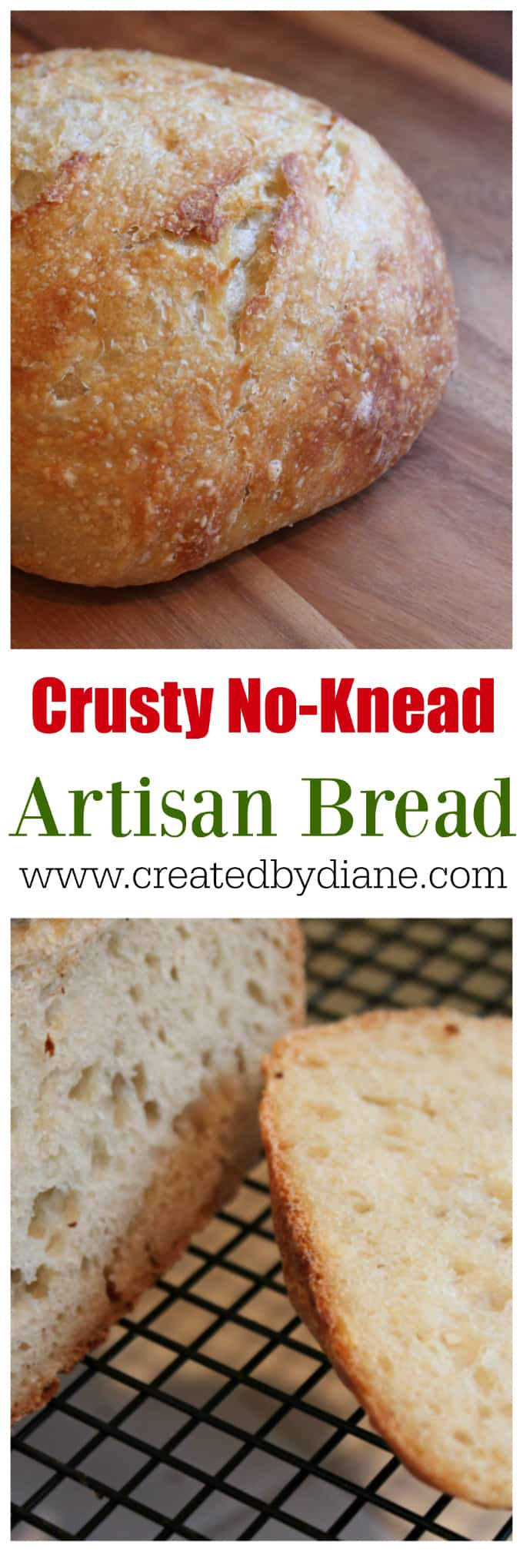 Crusty No Knead Bread Recipe, overnight bread dough www.createdbydiane.com
