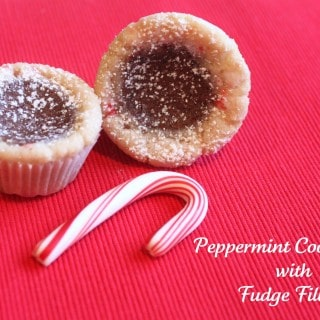 Peppermint Cookie Cups with Fudge Filling