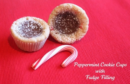 Peppermint Cookie Cups with Fudge Filling | Created by Diane