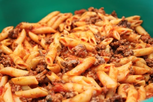 Penne Pasta with ground beef for Baked Ziti Recipe