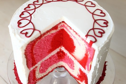 Diane's Valentine Cake with heart pattern inside