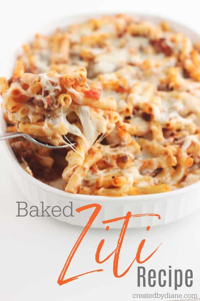 baked ziti recipe createdbydiane.com