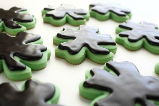 Mint Cut-Out Cookies with Dark Chocolate Glaze Icing | Created by ...