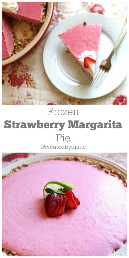 Frozen Strawberry Margarita pie with PRETZEL Crust