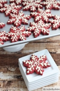 Red Velvet Christmas Snowflake Cookies with Royal Icing @createdbydiane.jpg