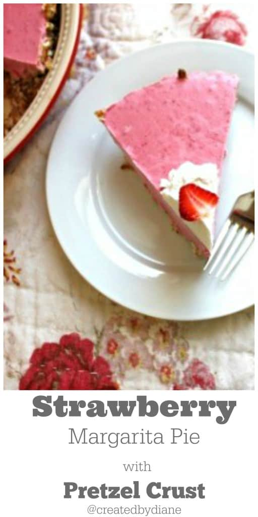 pretzel crust on a frozen Strawberry Margarita Pie is OUT of this world delicious. Perfect for any occasion. from @createdbydiane