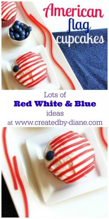 red white blue flag cupcakes @createdbydiane