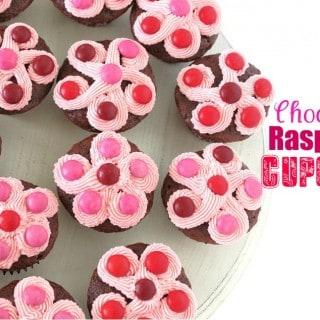 Chocolate Raspberry Cupcakes with Raspberry M&M's