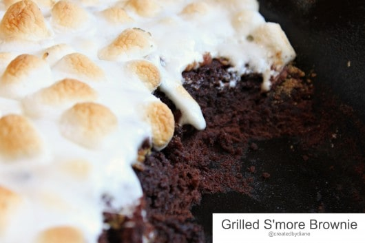 Grilled S'more Brownie in Cast Iron Skillet @createdbydiane