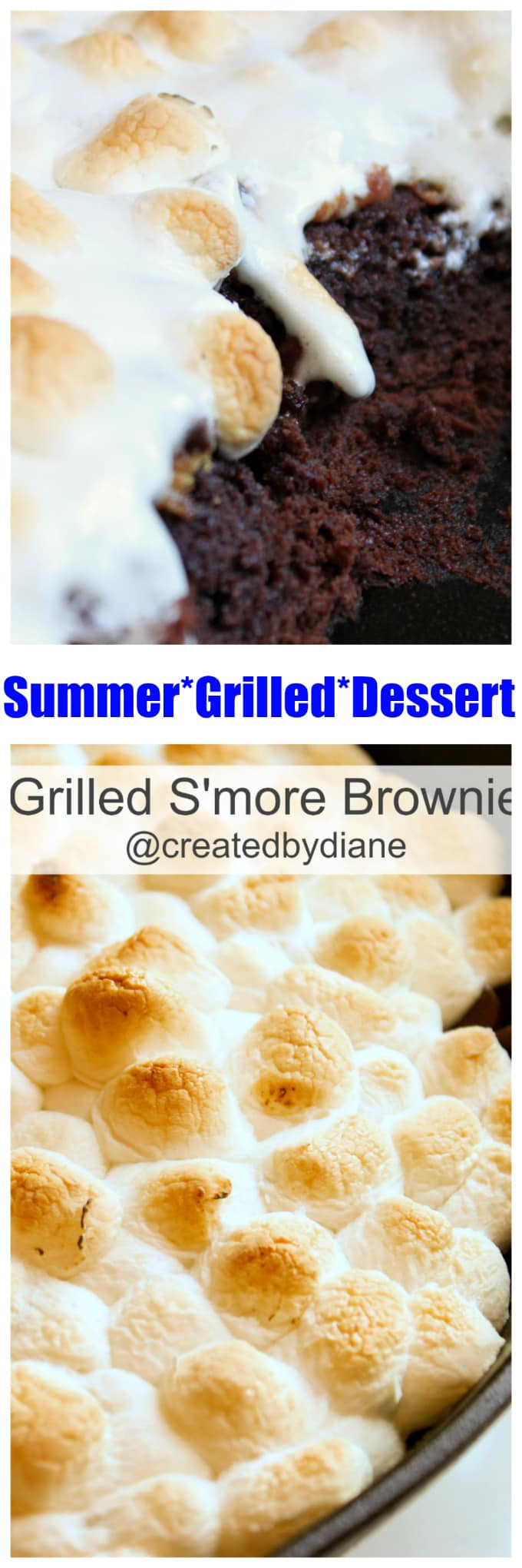 grilled smore brownie, S'more dessert from the Grill... recipe at www.createdby-diane.com