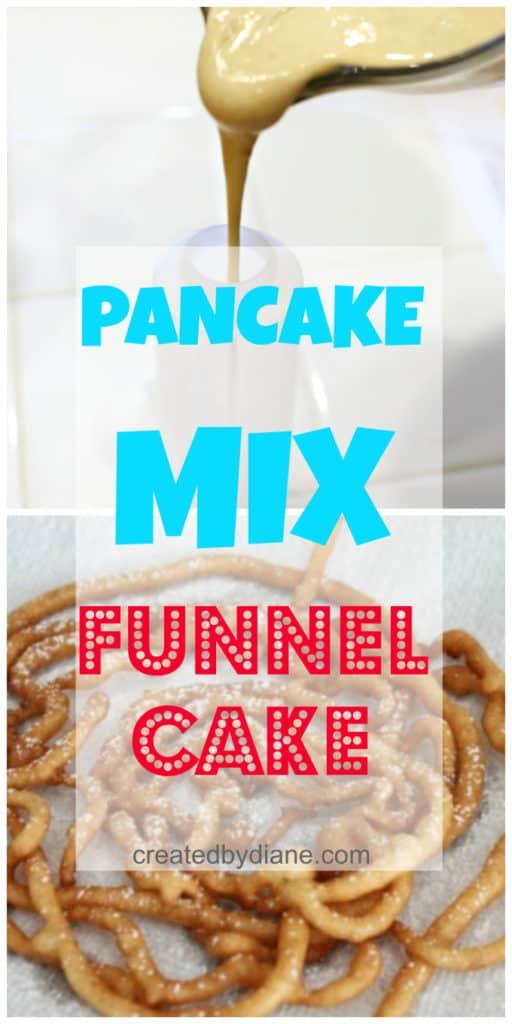 pancake mix funnel cake recipe and instructions at createdbydiane.com