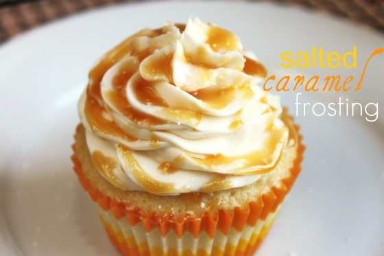 Vanilla Bean Cupcakes with Salted Caramel Frosting | Created by Diane