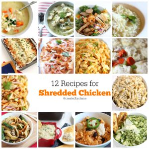 recipes for SHREDDED CHICKEN @createdbydiane