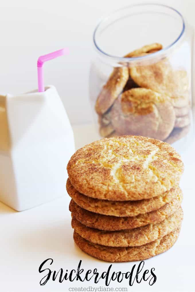 Snickerdoodles THE BEST COOKIE RECIPE, cinnamon sugar cookie by createdbydiane.com cookies piled high with a cookie jar carton of milk